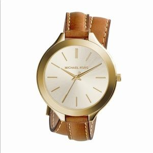 Michael Kors gold watch with brown leather band